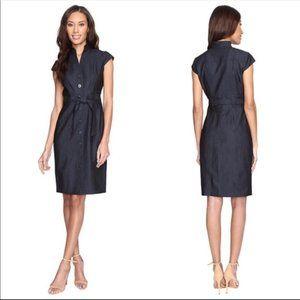 CALVIN KLEIN Dark Grey Sleeveless Belted Dress 2